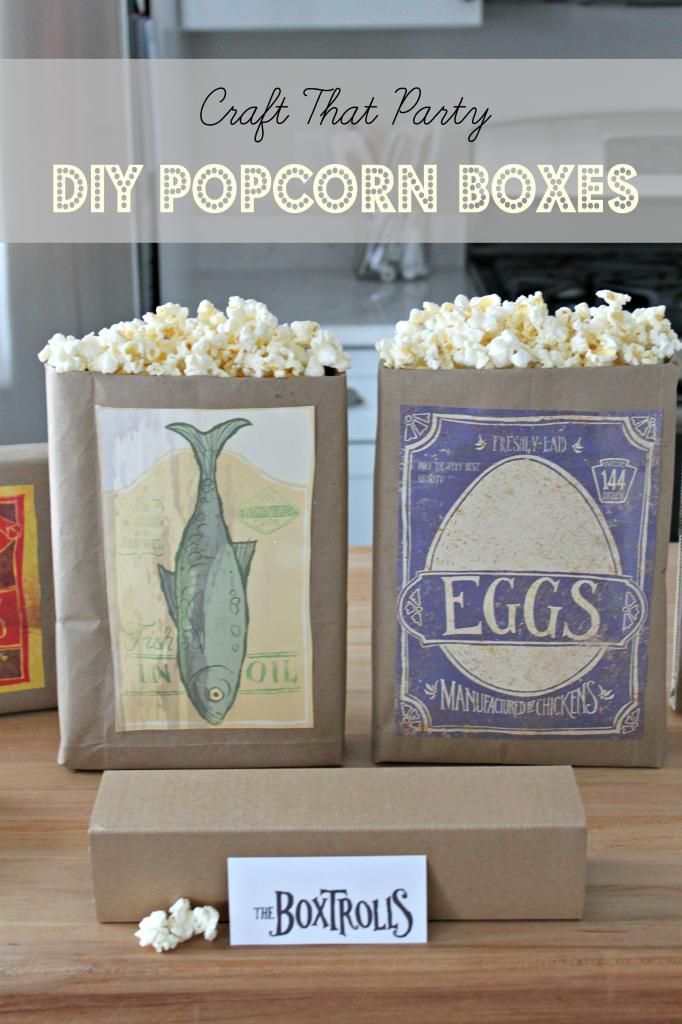 Family Movie Night with The Boxtrolls DIY Boxtroll popcorn boxes by Craft That Party
