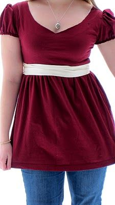 DIY Ruffled Tshirt Refashioned - I just pinned this because it's so cute, but the sewing seems to be a little (a lot) beyond my expertise.