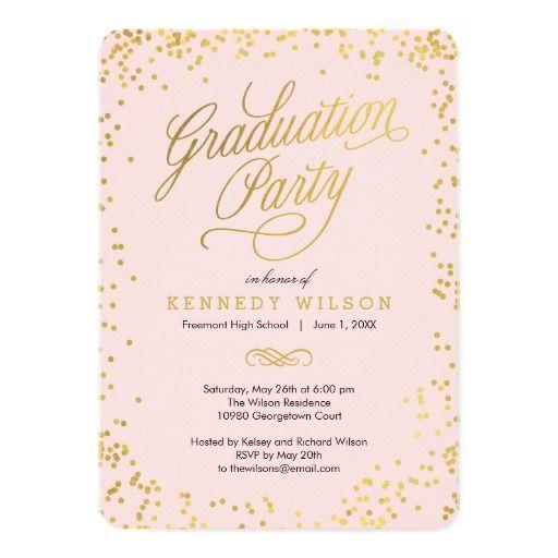 Shiny Confetti Graduation Party Invitation Pink Invitation Card