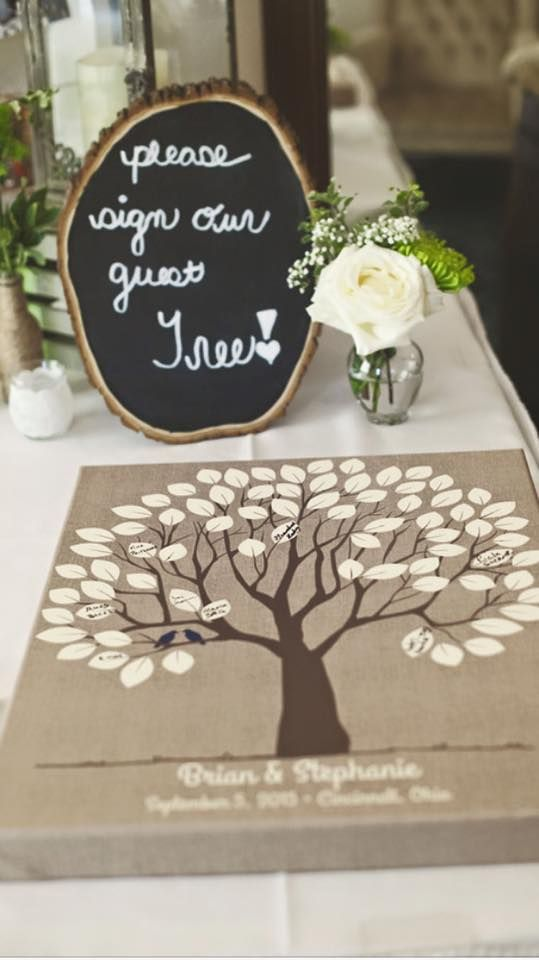 Burlap Wedding Tree Canvas | Guest Book Alternative | Signed Peachwik Tree | Rustic Wedding | Customer Photo | Wedding Color - Navy | peachwik.com