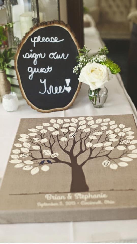 Burlap Wedding Tree Canvas | Guest Book Alternative | Signed Peachwik Tree | Rustic Wedding | Customer Photo | Wedding Color - Navy | peachwik.com