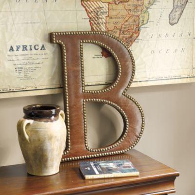 LOVE this!! Leather Studded Typesetter Plaque | Ballard Designs
