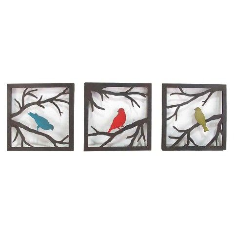 Birds On Branch Square Wall Sculpture   3 Piece. Bird Wall ArtMetal ... Part 36