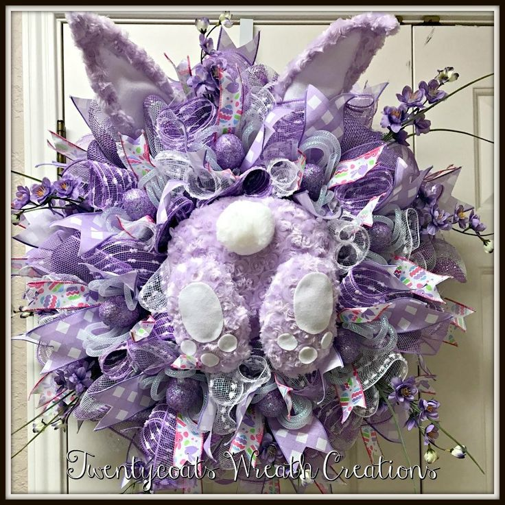 Deco mesh lavender bunny for Easter and spring by Twentycoats Wreath Creations (2017)