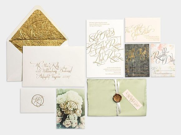 Woodland themed wedding stationary - with a hint of glamour with the metallic font and envelope #wedding #woods #diy #theme #inspiration #decorations #woodland #nature #style #stationary #design #forest #green #gold #grey
