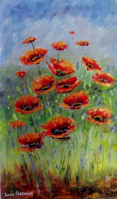 Buy POPPIES(oil on stretched canvas: 500mm x 300mm x 20mm)for R860.00