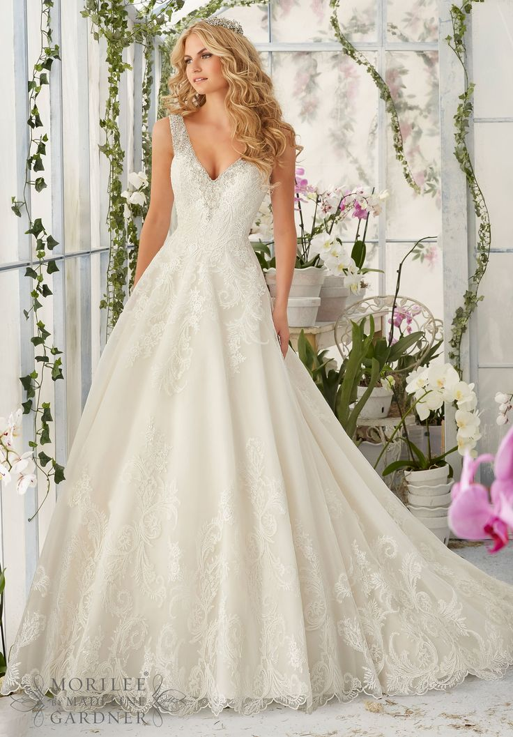 2813 Bridal Gowns / Dresses Diamante Beading Edges the Tulle Ball Gown Decorated with Wispy, Embroidered Lace Appliques and Deep Scalloped Edging