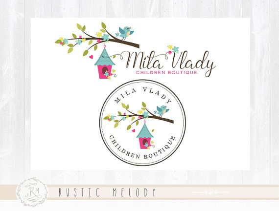 Children Logo Design Bird House Logo Kids Logo Baby Logo Boutique Logo Stamp Logo Watermark Photography Logo