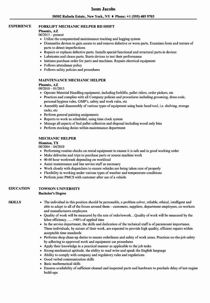 Mechanic Job Description Resume Luxury Aircraft Mechanic