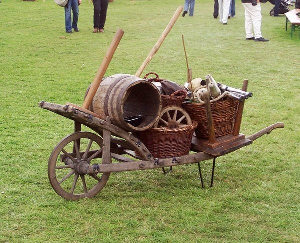 medieval wheelbarrow - I like the idea of a wheelbarrow that does not itself add a lot of weight to what you're hauling,