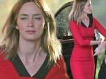 Emily Blunt looks pin thin as she hits Brian Baumgartner's wedding in tight red dress just NINE WEEKS after delivering baby