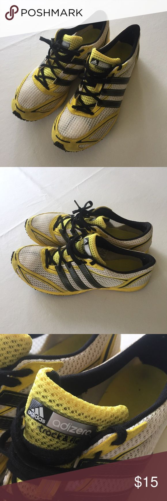 Adidas adizero track and field spikes Yellow white and black ultra light track spikes in great condition. Fits Men's 7 or women's 8.5/9. adidas Shoes Athletic Shoes
