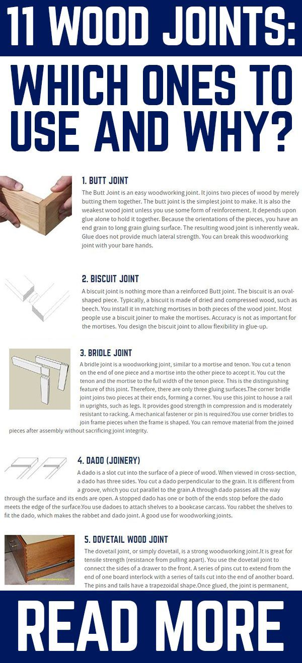 There are various woodworking joints in use. Some are stronger than others are. Let's discuss the more popular joints, so you know which to use for your projects.