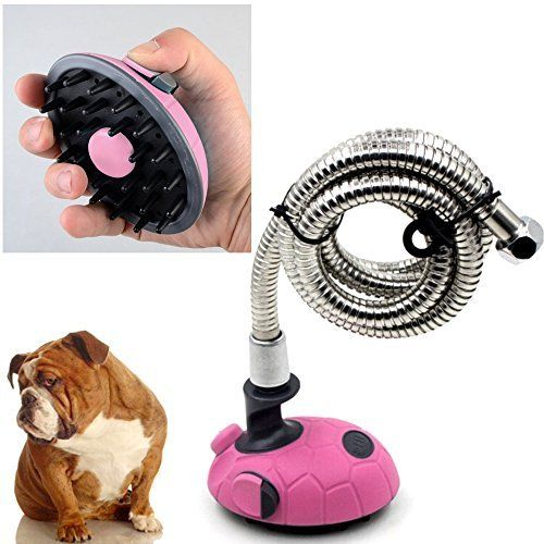 Paw Essentials Multi-Functional Handheld Pet Bath Sprayer & Shampoo Shower Brush for Dogs and Cats with Stainless Steel Hose (Pink)  Have you every had trouble washing your dog? Now it is easy with the Paw Essentials Handheld Pet Bath Sprayer  Great for pets with long or thick hair, Just turn on the water and quickly brush through your pets thick hair  Scrub Shower Brush is easy to hold and allows you to control the flow of Shampoo right from the brush  Fill the Shower Brush with your ...