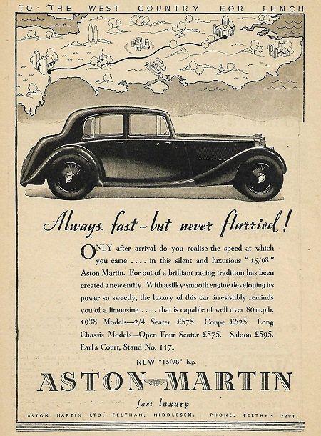 Aston Martin Car Print 1937 Advertising Wall Art Classic Car