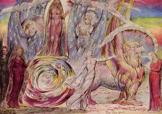 Beatrice si rivolge a Dante da un carro, William Blake, 1824, acquarello, Tate Gallery, Londra