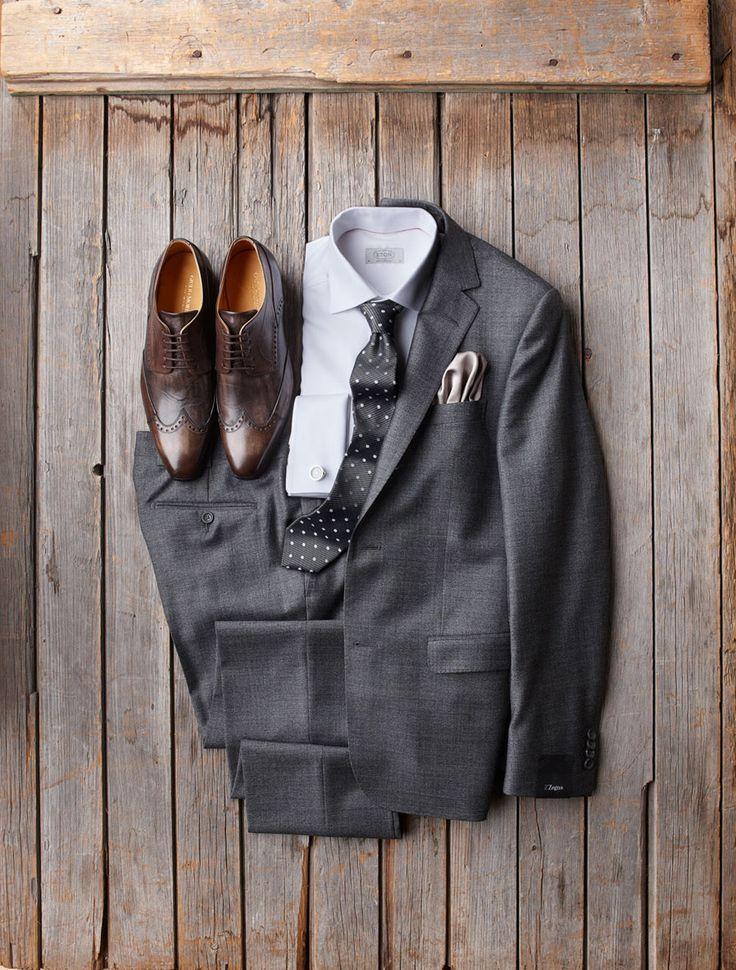 Z Zegna Soft British Tweed Suit - $1398  Eton Twill French Cuff Shirt - $235  Giulio Moretti Leather Shoes - $398  Eton Tie - $128  Tateossian Vintage Clock Cufflinks - $295