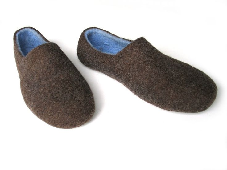 Felted home shoe Blue brown felted slippers Wool clogs for men Naturaly wool…