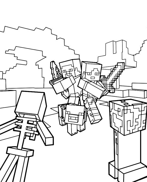 Minecraft Alex And Steve In 2020 Minecraft Coloring Pages Spider Coloring Page Coloring Pages