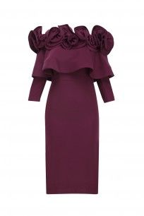 Burgundy Ruffled Frill Detail Fitted Dress #vineetbahl #newcollection #shopnow #ppus #happyshopping