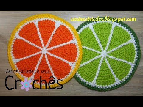 Carine Strieder e seus Crochês: Descanso Panela em forma de Laranja e Limão por Carine Strieder