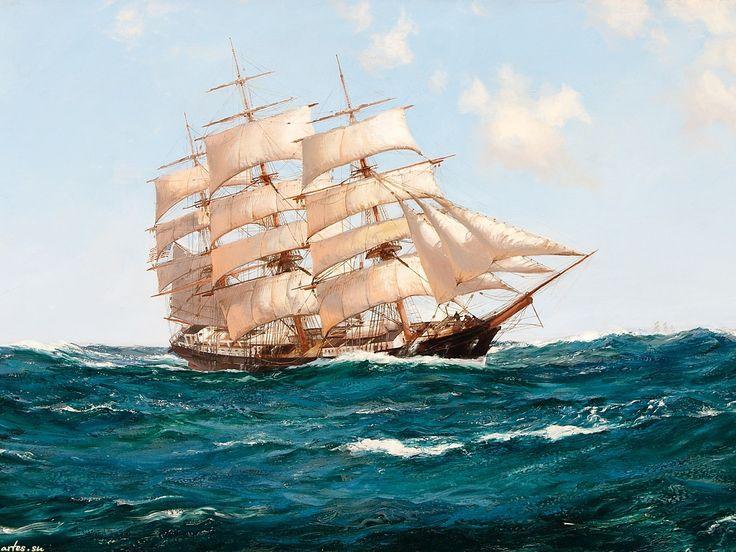 Парусные корабли на открытке