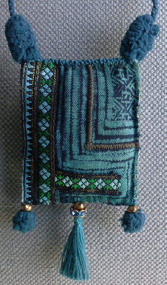 Textile necklace/charm. Blue/Green. by VeronikB on Etsy
