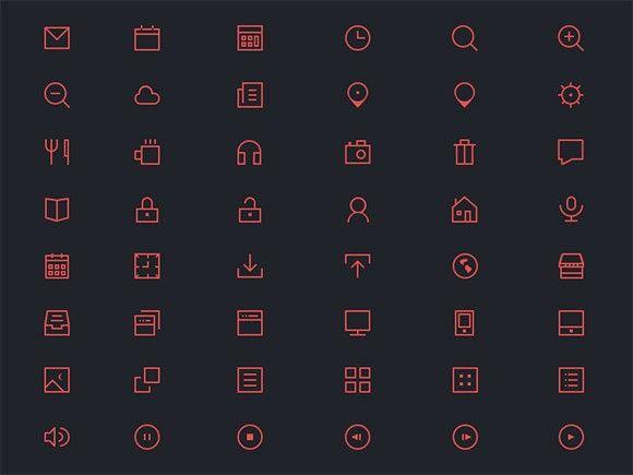 48 thin icons PSD