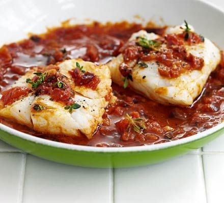 Tomato & thyme cod: really easy recipe, added a tsp cumin for a bit of warmth and passata for extra tomato flavour