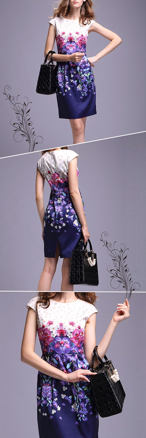 Elegant White and Purple Floral Printed Mini Dress in Casual Style is definitely a hot product among summer dresses. The Casual Design Mini Dress will be your favourite very soon.