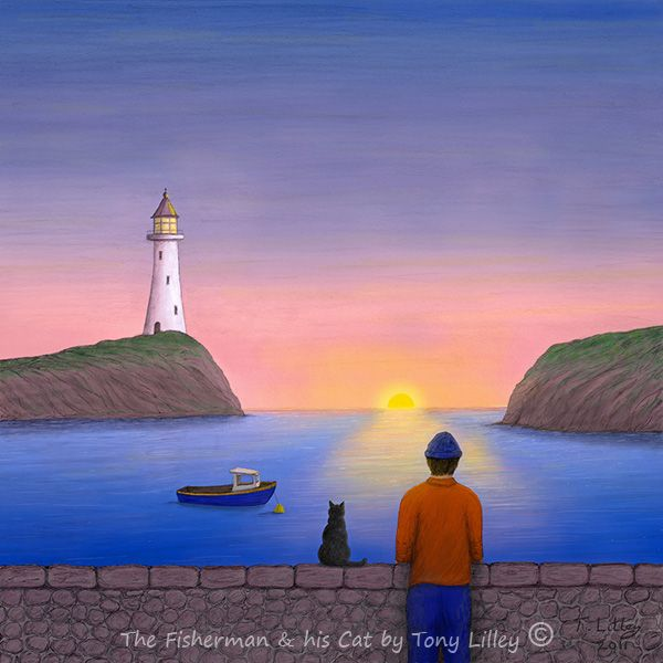 """The Fisherman & his Cat - Trad-Digital painting by Tony Lilley. Drawn in pencil on paper and then painted digitally in Photoshop. Limited Edition of 50 Fine Art Prints 12"""" X 12"""""""