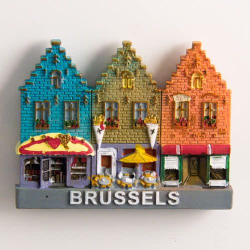 Resin Fridge Magnet: Belgium. Brussels. Historical Houses