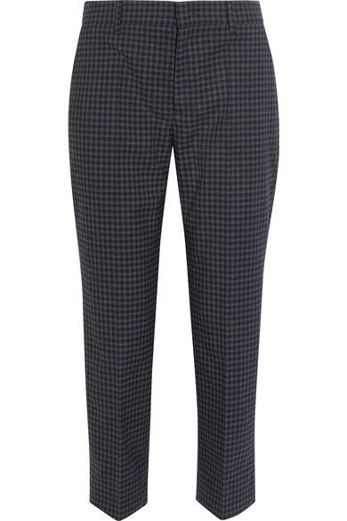Prada - Cropped Checked Flannel Straight-leg Pants - Charcoal