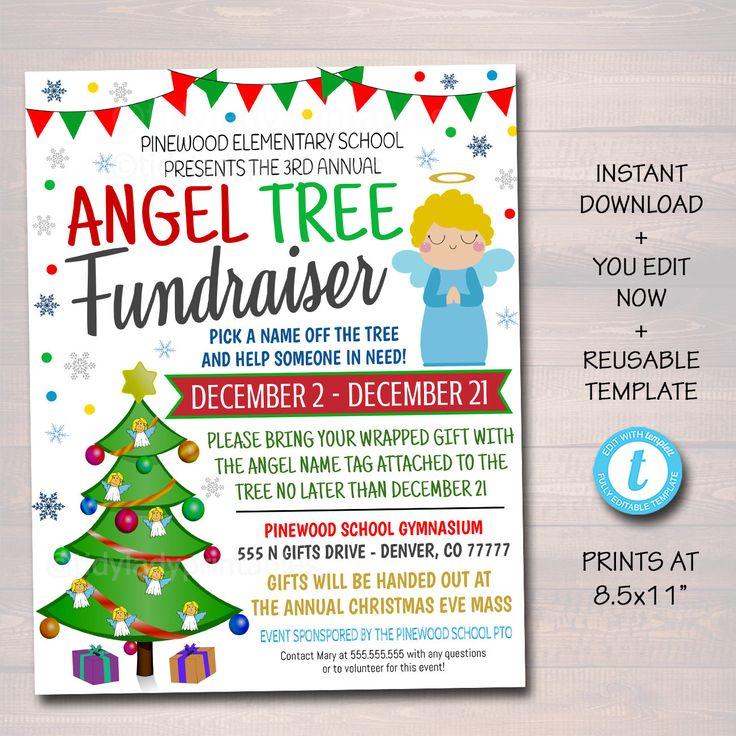 Christmas angel tree fundraiser flyer christmas charity