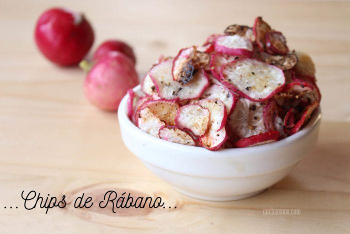 ¿Te gustan las patatas fritas? Si la respuesta es un si seguro esta receta que te traigo hoy te va a encantar, unos ricos y crujientes chips de verduras (de rábano en este caso).