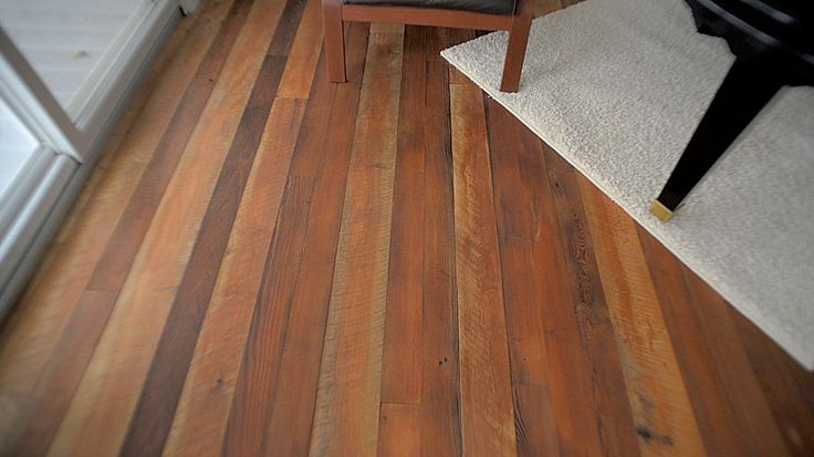 Beautiful original face reclaimed hardwood flooring. This material is skip planed, tongue and groove on 2 sides, back relief on the bottom and we leave the gorgeous top side. Multi species and multiple widths.  One of my very favorite floors.