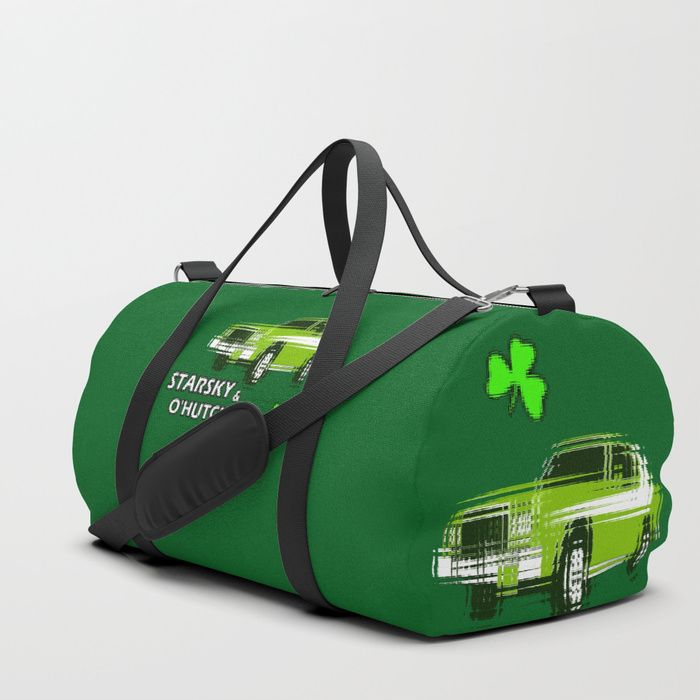 'Starsky & O'Hutchinson' duffle bag. @society6 -  We upped the Duffle Bag game. Your new favorite gym and travel bags feature crisp printed designs on durable poly poplin canvas. Constructed with premium details for ultimate comfort. Available in three sizes.  #parodies #popart #greenery #shamrock #stpatricksday #stpaddysday #cars #starskyandhutch #humor #drink #1970s #nerd #shennanigans #paddysdaystuff #paddysdaybag #travelbags #gymbags #bags #dufflebags #society6 #shareyoursociety6