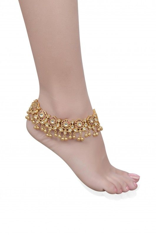 Silver Traditional Crystal Hexagon Anklet