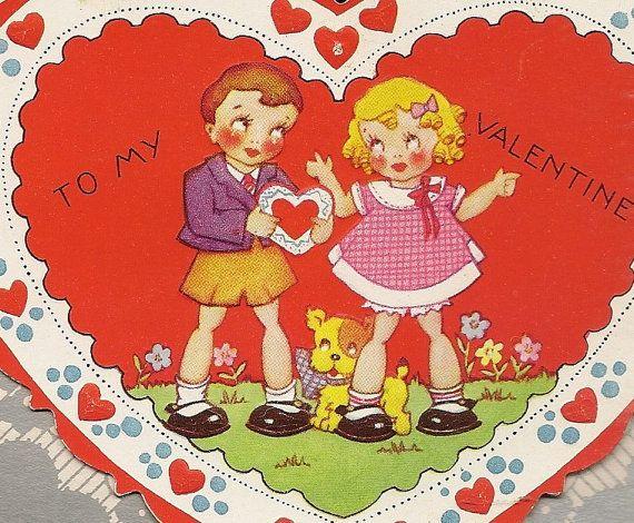 Charming Embossed Vintage Valentine Card Boy by TheOldBarnDoor