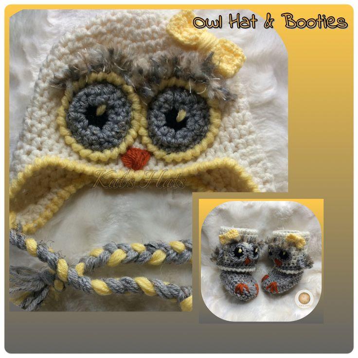 Crochet Baby Owl Hat and High Booties. Original Design from Kats Hats http://facebook.com/Kats.hats.1