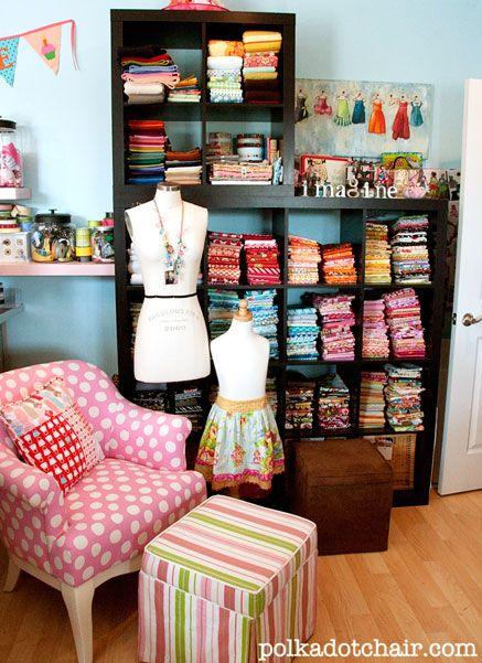 Fabric organization idea - The Polka Dot Chair
