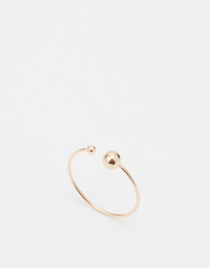 ASOS - Bague fine ouverte en argent massif plaqué or rose avec perle