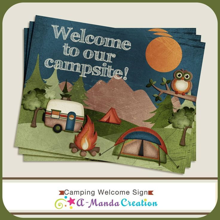 Adorable Camping Party Printables from #AmandaCreation.  There is a whole coordinating set of printables to help you throw an amazing camping themed party whether it's indoors or out!  An awesome welcome sign to welcome guests to your party