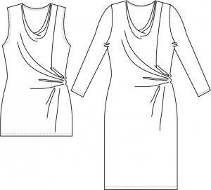 Naja+Str.+XS-XXXL++Kjole+m/drapering+Naja  XS+(S)+M+(L)+XL+(XXL)+XXXL  Beskrivelse Top+og+kjole+med+vandfald+i+hals+og+drapering+i+side Model+A:+Kjole+med+ærmer Model+B:+Ærmeløs+top. Materiale+forslag Modellen+egner+sig+til+lette+stoffer+med+stretch.  Størrelse+xS+S+M+L+XL++XXL+XXXL Model+A+stofforbrug+140+cm+bred+200+205+210+245+250+250+260 Model+B+stofforbrug+140+cm+bred++95+95+125+130+130+135+140 Tvilinge+stretchnål +-+stof2000.dk