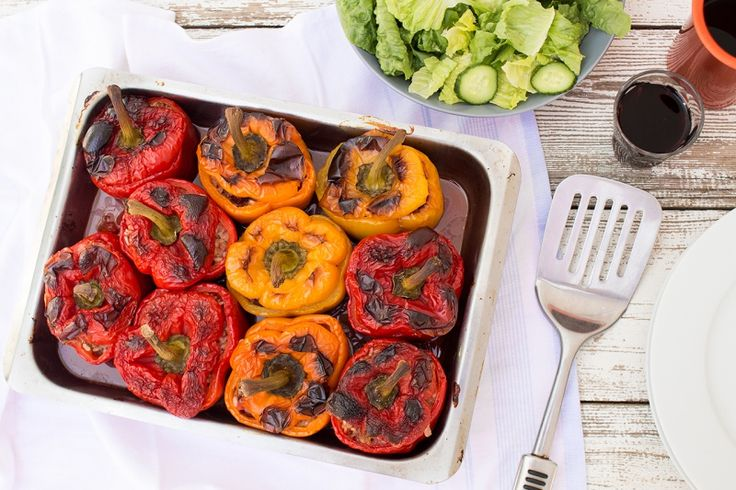 Yemista - Greek stuffed peppers (vegan) -