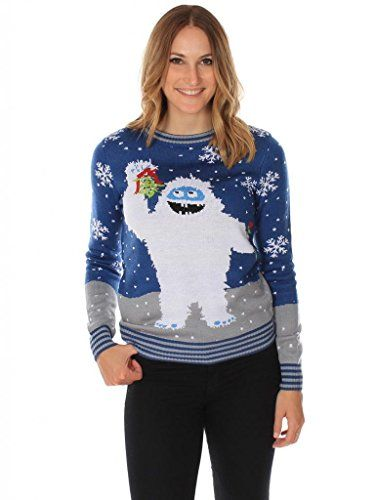 Women's Ugly Christmas Sweater - The Romantic Yeti Sweater in Blue - http://www.christmasshack.com/ugly-christmas-sweaters/womens-ugly-christmas-sweater-the-romantic-yeti-sweater-in-blue/