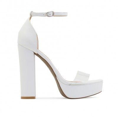Calla Perspex Strap Platform High Heels in White