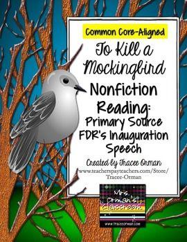 To Kill a Mockingbird Nonfiction Reading Activity: FDR Inauguration Speech #commoncore #CCSS
