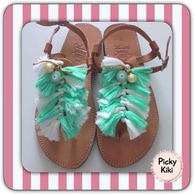 Sandals from genuine leather,with bright green and white pompons,peepholes and pearls | Picky Kiki Accessories