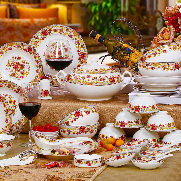 Wedding gift tableware unique fashion 58 dinnerware set bone china ...